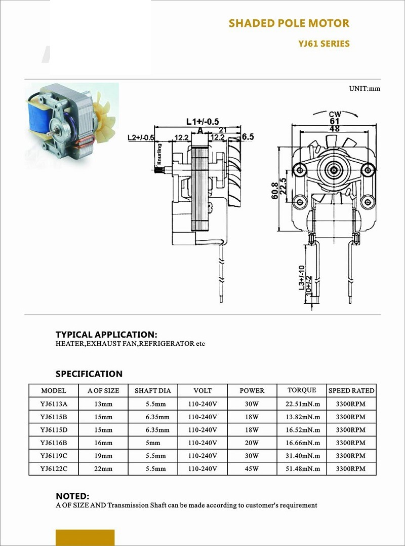 slow 61Series Shaded pole motor compressor